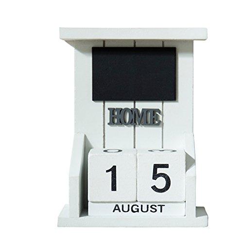 Mural Art Vintage Wooden Calendar Home Office Shop Decoration DIY Yearly Planner Desk Calendar with Mini Blackboard Message Board Signs Chalkboard White