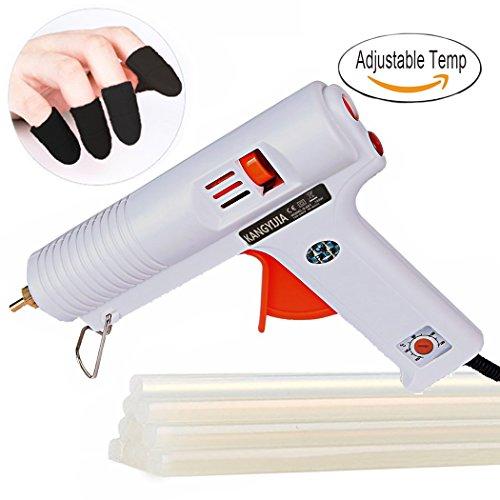 Hot Glue Gun Adjustable Temperature 100Watt Industrial Hot Melt Glue Gun for Crafts DIY Projects Home Repair 10pcs Glue Sticks 5pcs Finger Caps Included