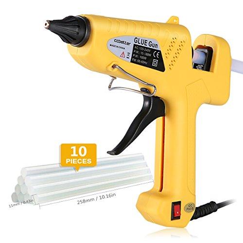 Hot Glue Gun  CCbetter 100W Hot Melt Glue Gun Adjustable High Temperature Melt Adhesive Glue Gun with 10 pcs Glue Sticks for DIY Craft Sealing Repairs Light and Heavy Duty Yellow