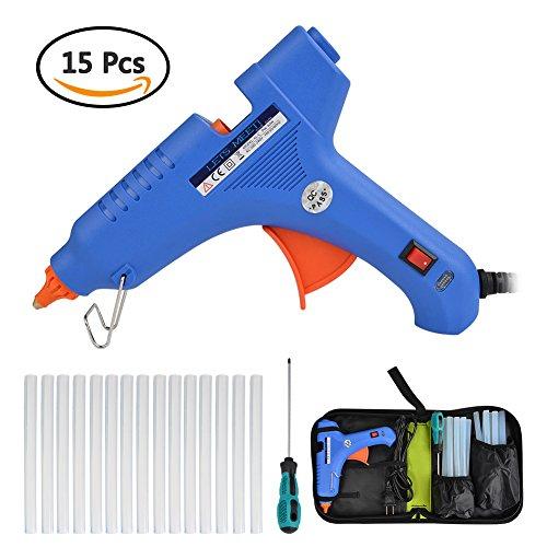 Hot Glue Gun kits LETS MEETi 60 Watt Hot Melt Glue Gun with 15 Pcs Standard 716 inch Transparent Hot Melt Adhesive Sticks for Arts Crafts Industrial Sealing and Quick Repairs Blue