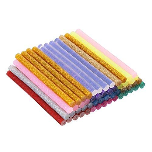 Pangda Hot Melt Glue Sticks 10 Color Glitter Glue Sticks and Translucent Hot Glue Gun Sticks 5 16 Inch Diameter 4 Inch Long for Most Purpose Glue Sticks 100 Pieces