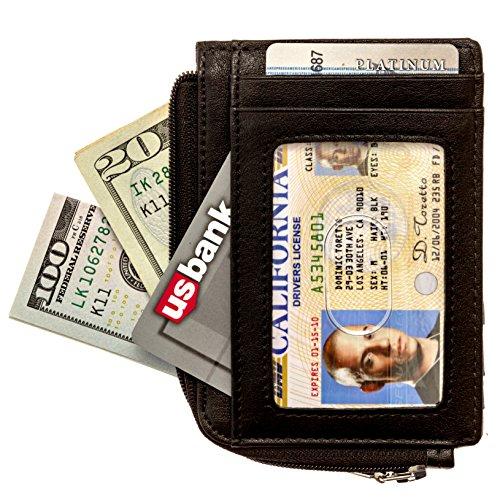 Full Voyage RFID Blocking Slim Wallet FV08 with Window for ID Badge 7 Card Holder Slots - 270-Degree Zipper - Black Leather