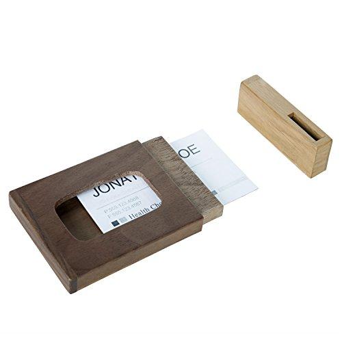 Walnut Oak Wood Professional Business Card Holder Credit Card ID Wallet Case