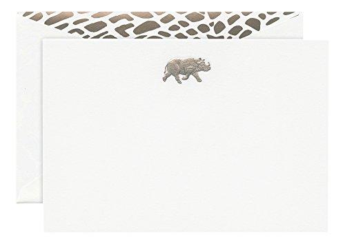 Crane Co Engraved Rhinoceros Correspondence Card CC3620