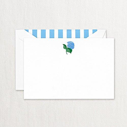 Crane Engraved Blue Hydrangea Correspondence Card Pearl White CC3765