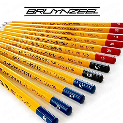 Bruynzeel Artist Sketching Set- High Grade Hexagonal Burotek Pencils - 1605 - Full Range Set of 12