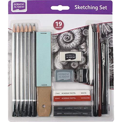 Derwent Academy Graphite Sketching Set Set of 12 Starter Kit 6B-H Degrees 2300365