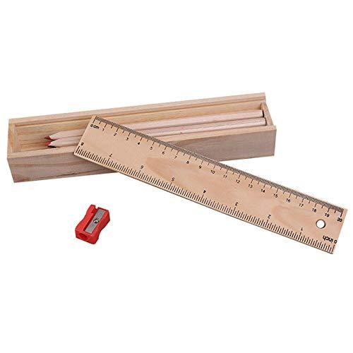 FidgetKute Wood Pencil Case Box Colour Pencils  Wooden Sharpener Ruler Sketching Set K3D0 Show One Size