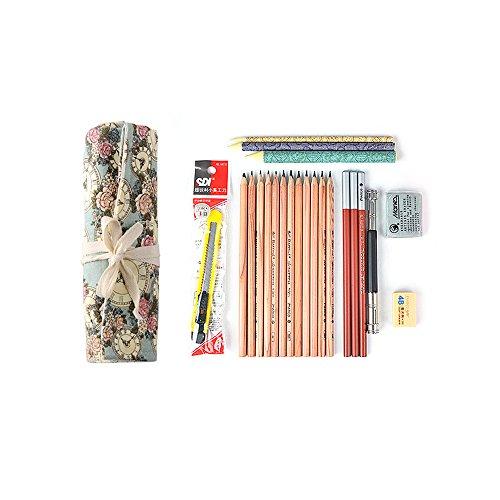 Zhi Jin 8PcsSet Floral Professional Artist Sketching Pencil Set Charcoal PencilEraserPaper PensPencil SharpenerPencil ExtenderPencil Pouch For Drawing Adult Beginner
