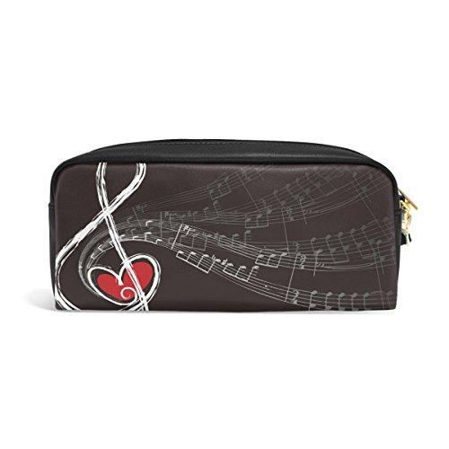 ALAZA Treble Love Music Note PU Leather Pen Pencil Case Pouch Case Makeup Cosmetic Travel School Bag