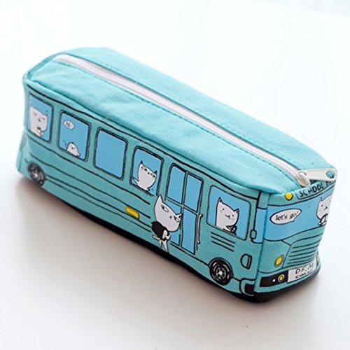 Kawaii Cartoon Cat School Bus Canvas Pencil Case Stationery Storage Organizer Pen Bag Pouch Children Kids School Office Supply for Boys Girls Blue