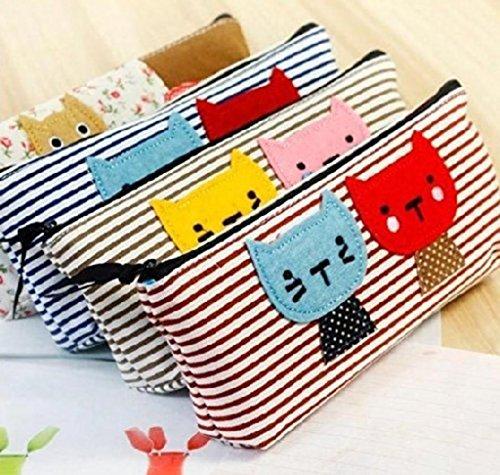 La Tartelette Kitten stripe Pen Bag cat Pencil case Assorted Color - Set of 4 Pcs