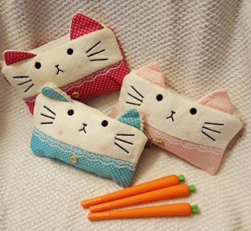 Set of 3 CAT Pencil Case Cosmetic bag  3 KAWAII CARROT Gel INK Pens