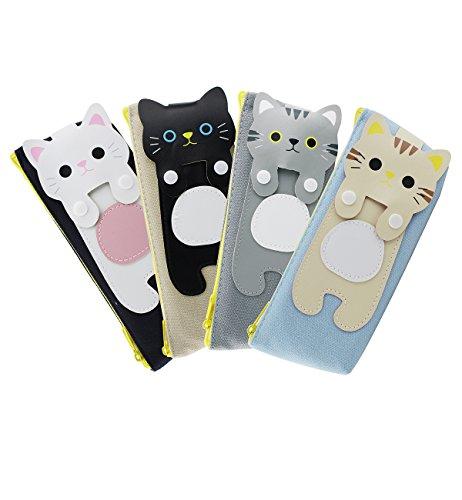 Zmart Set of 4 Cat Pencil Case Canvas Pen Stationary Makeup Bag Pouch