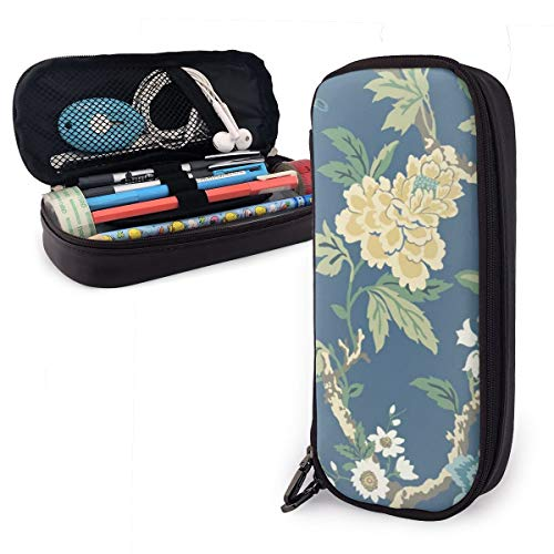 GHUJAOOHIJIO Blue and Yellow Flowers Pencil CaseLarge Capacity Pencil Bag with Durable Zipper Students Stationery Pen Bag for Pens and Other School Supplies