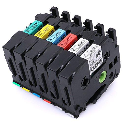 6 Pcak TZ TZe 121 221 421 521 621 721 Compatible for Brother Model P-Touch Labeling Tape Laminated 035 262ft 9mm x 8m PT H100 H110 D200 D210 D400AD D600 P700 1290 2430PC Label Maker etc