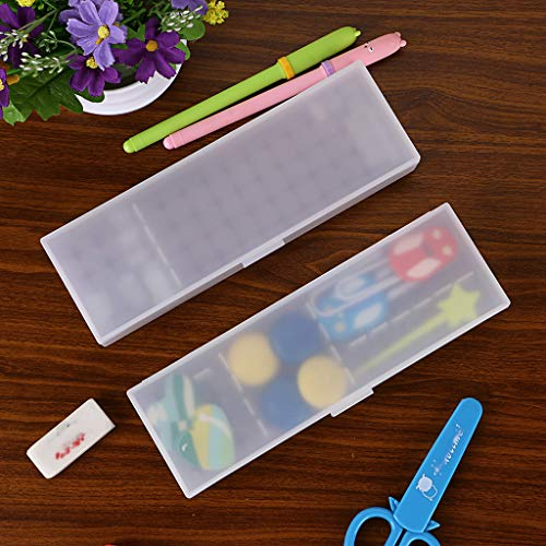 BTSKY 2 Pack Plastic Pencil Box Sketch Pencil Case with Adjustable Divider Grids Inserts Locking Lid Clear White