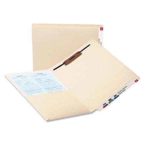 Smead 34100 Reinforced End Tab Pocket Folder Fastener Straight Cut Letter Manila Box of 50