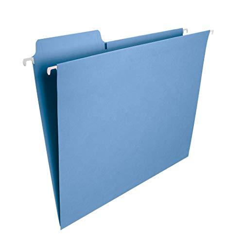 Smead FasTab Hanging File Folder 13-Cut Built-in Tab Letter Size Blue 20 per Box 64099