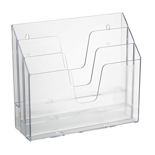 Acrimet Horizontal Triple File Folder Organizer Clear Crystal Color