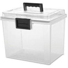 IRIS USA Inc UCB-HFB Letter Size Portable WEATHERTIGHT File Box 19 Quart Clear