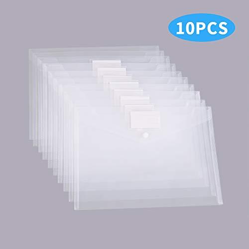 MILOLO Plastic Envelopes Document Folders 10 Pack US Letter A4 Size Transparent File Envelopes with Label Pocket& Snap Closure Clear Filing Envelopes for SchoolHomeWorkOffice