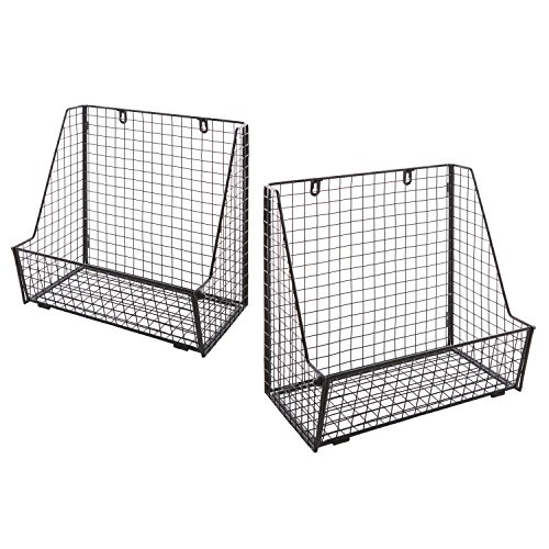 Set of 2 Metal Wire Wall Mounted Hanging Towel Basket Freestanding Magazine File Organizer Rack