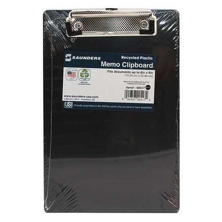 Saunders Memo Size Recycled Clipboard Plastic Black Box of 12 00517