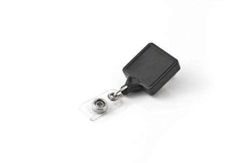 KEY-BAK MINI-BAK Square ID Badge Retractable Reel with 36 Nylon Cord Swivel Bulldog Clip Twist-Free Vinyl ID Strap Grey Made in the USA