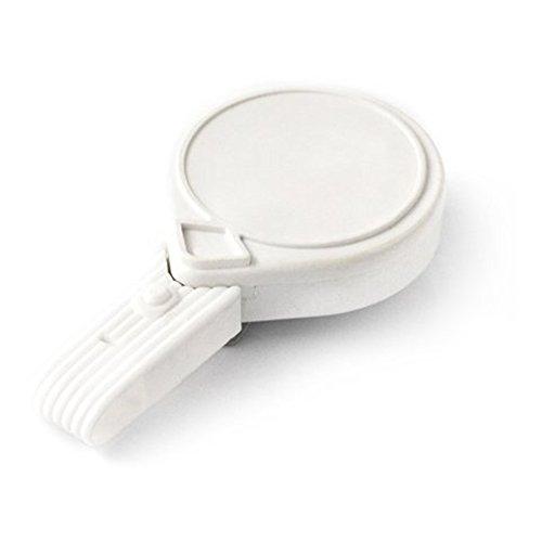 KEY-BAK MINI-BAK Twist Free ID Badge Retractable Reel with 36 Nylon Cord Steel Belt Clip Twist-Free ID Strap White Made in the USA