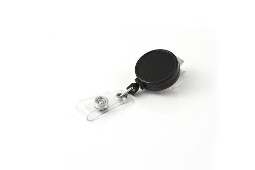 KEY-BAK RETRACT-A-BADGE 25-Pack Retractable ID Badge Reel with 36 Cord Swivel Bulldog Clip Vinyl ID Strap Black