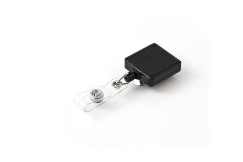 KEY-BAK RETRACT-A-BADGE 5-Pack Square Retractable ID Badge Reel with 36 Cord Belt Clip Vinyl ID Strap Black
