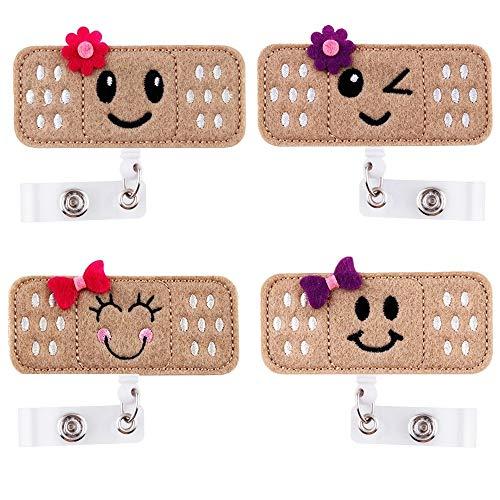Retractable Badge Holder - ID Badge Holder Reel Clip Name Badge Holder for Nurse Alligator Clip RN Badge for Women 4 Pack