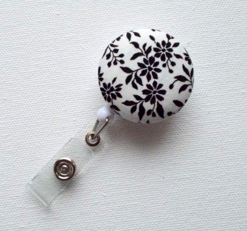 Black Floral - Retractable ID Badge Holder - Name Badge Holder - Flower Badge Reel - Nurse Badge Holder - Teacher ID Badge Reel