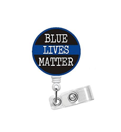 Blue Lives Matter - Retractable Badge Reel - Name Badge Holder - Police Dispatcher Badge Holder - Police Badge Reel - Police Officer Badge