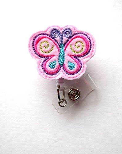 Butterfly Pink - Retractable Badge Reel - Name Badge Holder - RN Badge Reel - Badge Reels - Lab Technician Badge - Hospital Badges- Belt Slide Clip