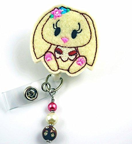 Cream Easter Rabbit Bunny - Nurse Badge Reel - Retractable ID Badge Holder - Nurse Badge - Badge Clip - Badge Reels - Pediatric - RN - Name Badge Holder