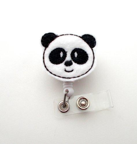 Panda Bear - Retractable ID Badge Reel - Name Badge Holder - Pediatric Badge Reel - Nurse Badge Holder - Nursing Badge - Felt Badge