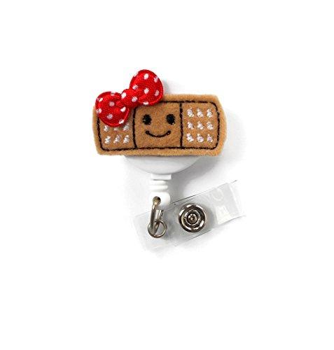 Smiling Bandage Red - Retractable Badge Reel - Name Badge Holder - Nurse Badge Holder - School Nurse Badge - Felt Badge - Rn Badge Holder