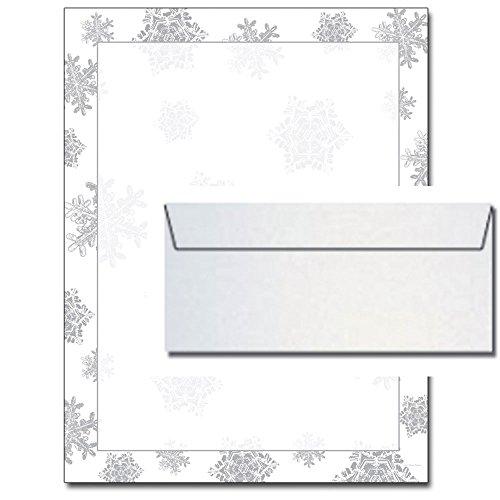 Icy Flakes Foil Christmas Letterhead White Metallic Silver Envelopes
