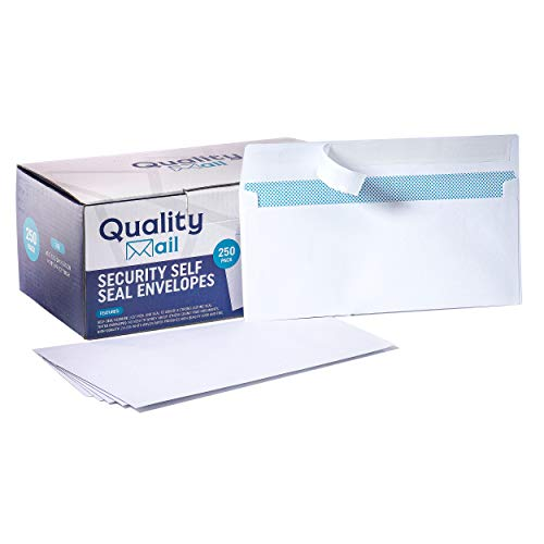 White Envelopes Number 10 Self-Seal Security Tinted Envelope no Moisture Required - no Window - Ideal for Home Office Secure Mailing - Quick-Seal Closure - 4-18 x 9-12 Inches