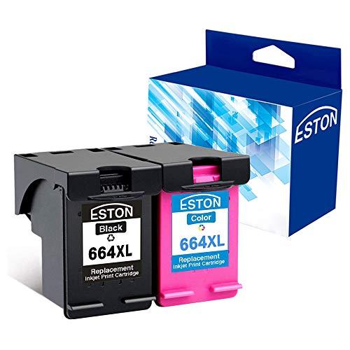 ESTON 2Pack Remanufactured for HP 664XL BlackColor Ink Cartridges for Deskjet Ink Advantage 1115 2136 3636 3836