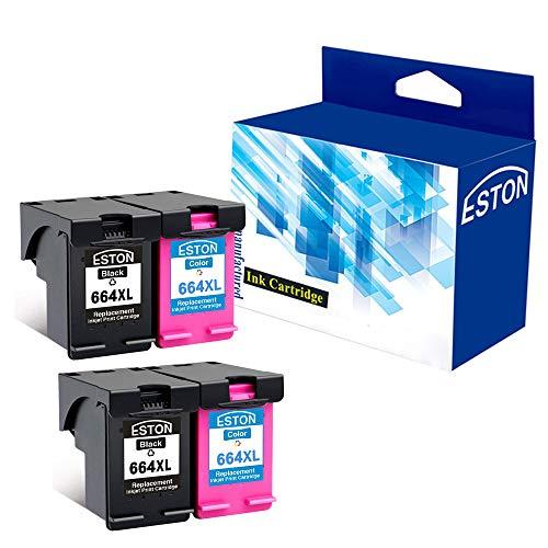 ESTON 4 Pack 664 XL BlackColor Ink for Deskjet Ink Advantage 1115 2136 3636 3836