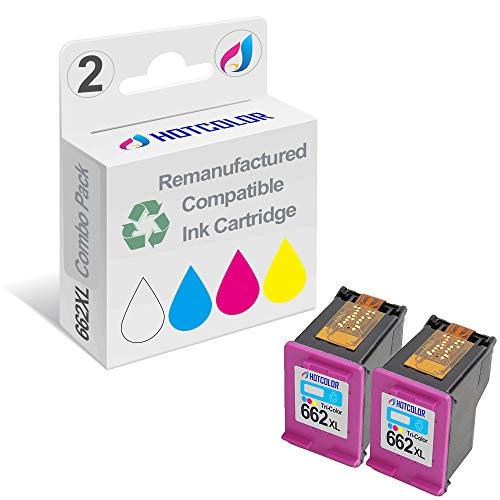 HOTCOLOR 2 Pack 662XL Tri-Color Ink Cartridge Work for HP Deskjet Ink Advantage 1015 1515 1516 2515 2516 Printer CZ106AL