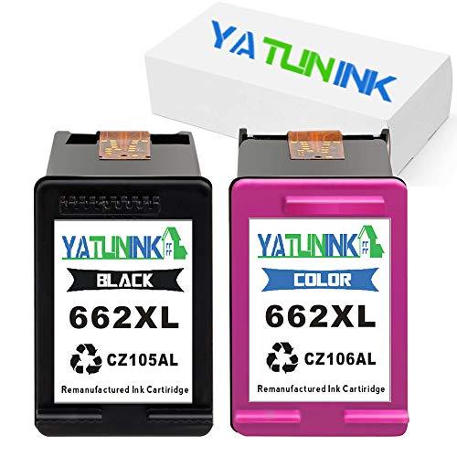 YATUNINK Remanufactured Ink Cartridge Replacement for HP 662XL Black 662XL Color CZ105AL CZ106AL Fit Deskjet Ink Advantage Series Printers 1 Black 1 Tri-Color