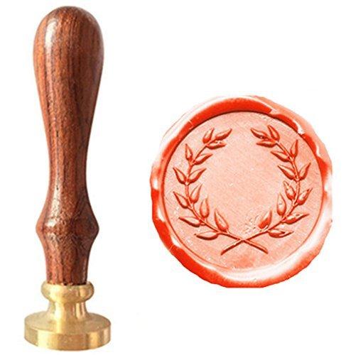 MDLG Vintage Olive Wreath Picture Logo Wedding Invitation Wax Seal Sealing Stamp Rosewood Handle Set