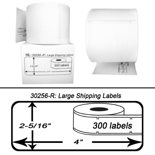 DYMO-Compatible 30256-R REMOVABLE Large Shipping Labels 2-516 x 4 -- BPA Free 6 Rolls 300 Labels per Roll