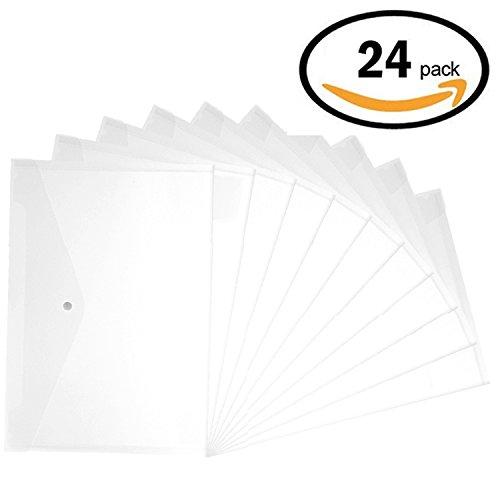 Plastic Envelopes - 24 Pack Poly Envelope With Snap Button Closure Plastic Folders Premium Quality Document Folder A4 Size