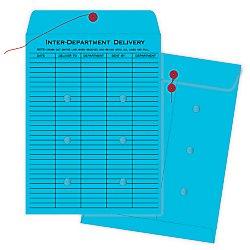 Quality Park 63577 Quality Park String-Tie Interoffice Envelopes1-Side Print 10x13 Blue100Ctn