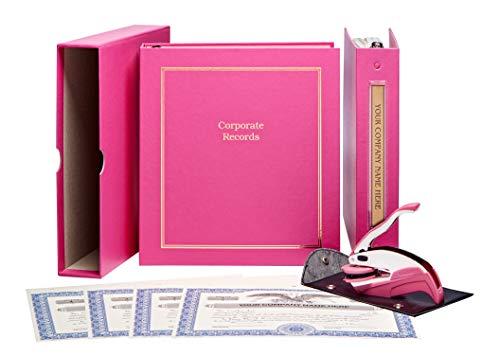 LLC Corporate Kit - Pink Binder Slipcase Operating Agreement Membership Certificates Index Tabs Company Seal